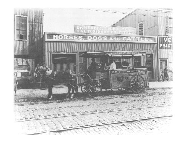 Horse Drawn Ambulance. Here, a sick horse is brought to Holmes Veterinary Hospital on Monticello Avenue, 1910