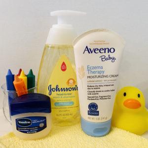 Baby shampoo, Vaseline and Aveeno Baby Eczema Therapy