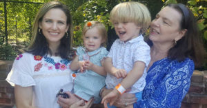Dr. Ashley Reed with her children and mother